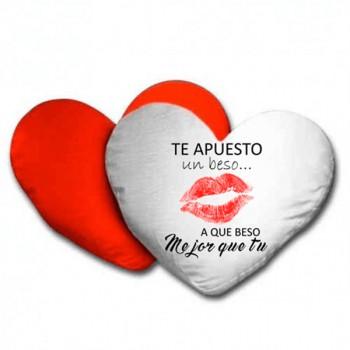Cojin personalizable corazón bicolor blanco/rojo - San Valentín