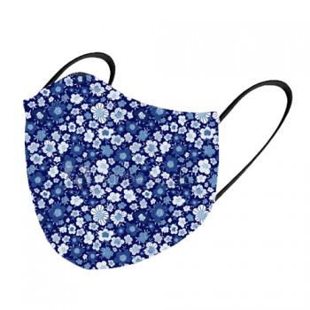 Mascarilla tela lavable flores azules