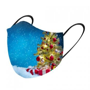 Mascarilla tela lavable pino navidad