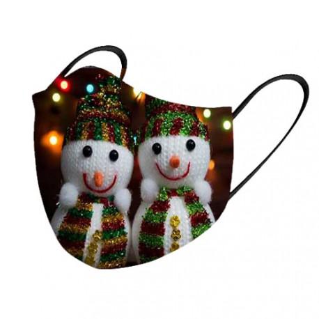 Mascarilla tela lavable muñeco de nieve