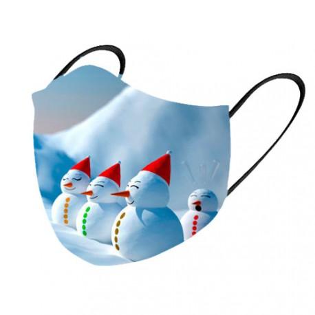 Mascarilla tela lavable muñeco de nieve 2